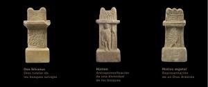 Aras votivas dedicadas a las divinidades de la Naturaleza, halladas en santuarios romanos pre-cristianos de los Pirineos.